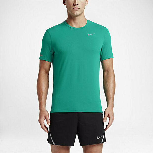 f6d82b852b49 Details about Men s NIKE DRI-FIT Contour Breathable Short Sleeve Running  Shirt 683517-351 sz S