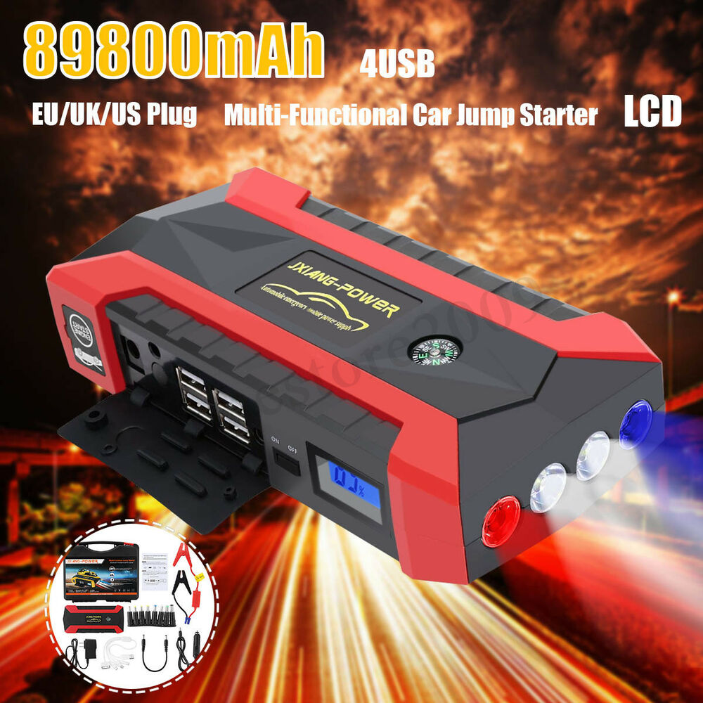 89800mah Led Car Jump Starter Booster 4 Usb Emergency Charger Low Power Negative Supply Battery Bank Ebay