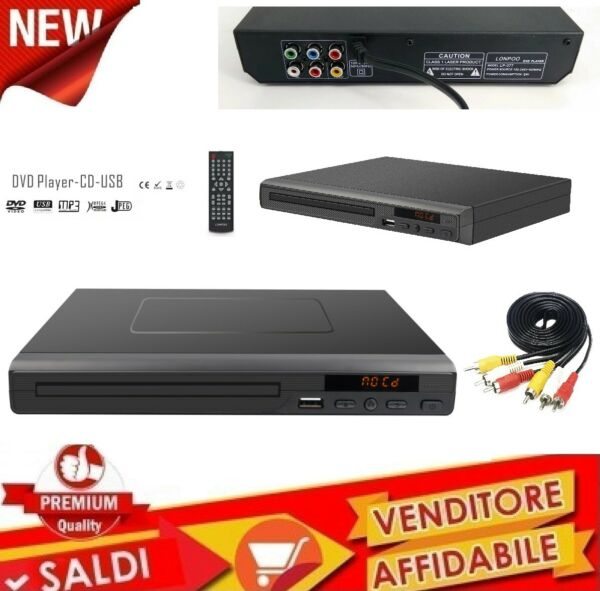 Lettore dvd MULTIMEDIALE player usb compact disc MP3 MPEG-4 CD JPEG Multilingua