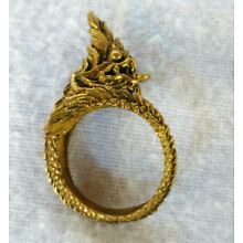 Ring  Naga  Brass Buddha Thai Amulet Talisman For  Luck charm Fortune Powerful