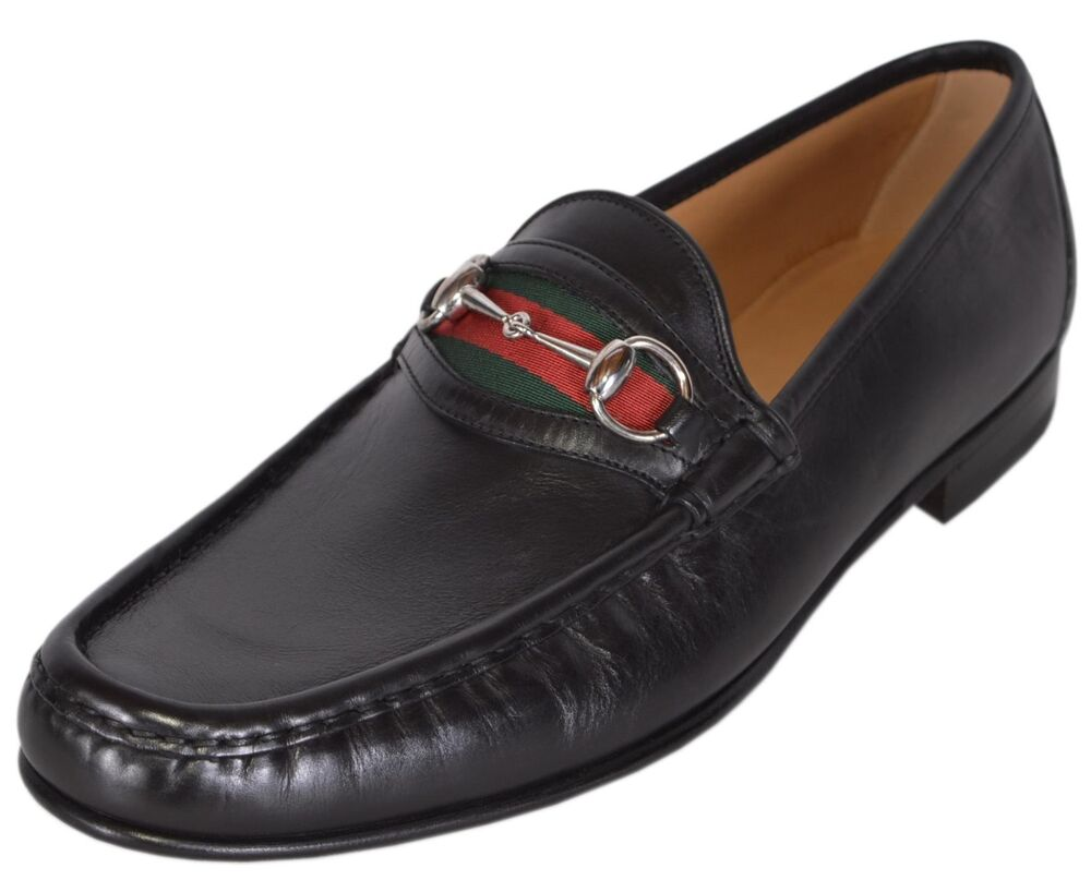 ea2da0f984d6dc Details about NEW Gucci Men s 157440 Black Leather Red Green Web Horsebit Loafers  Shoes