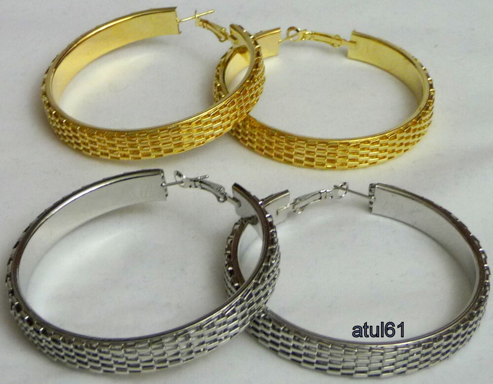 5325e7ea4 Details about BIG 5.5 CM MESH THICK HOOPS URBAN WEAVE EARRINGS GOLD/SILVER  JEWELLERY LARGE NEW