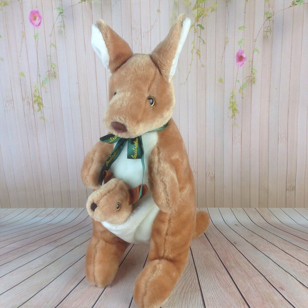 Kangaroo Plush Toy With Joey In Pouch Stuffed Animal Australia Doll