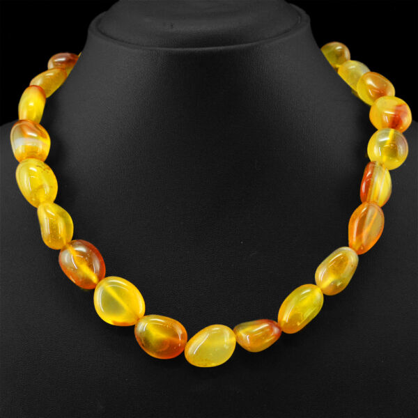 555.00 CTS NATURAL WHOLESALE PRICE UNTREATED RICH ORANGE ONYX BEADS NECKLACE