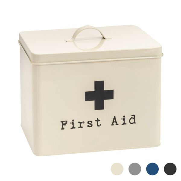 First Aid Box Empty Emergency Medical Survival Kit Storage Case 2 Tier Cream