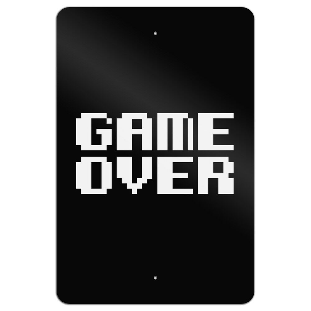 Game Over Gamer Pixel Font Geek Home Business Office Sign