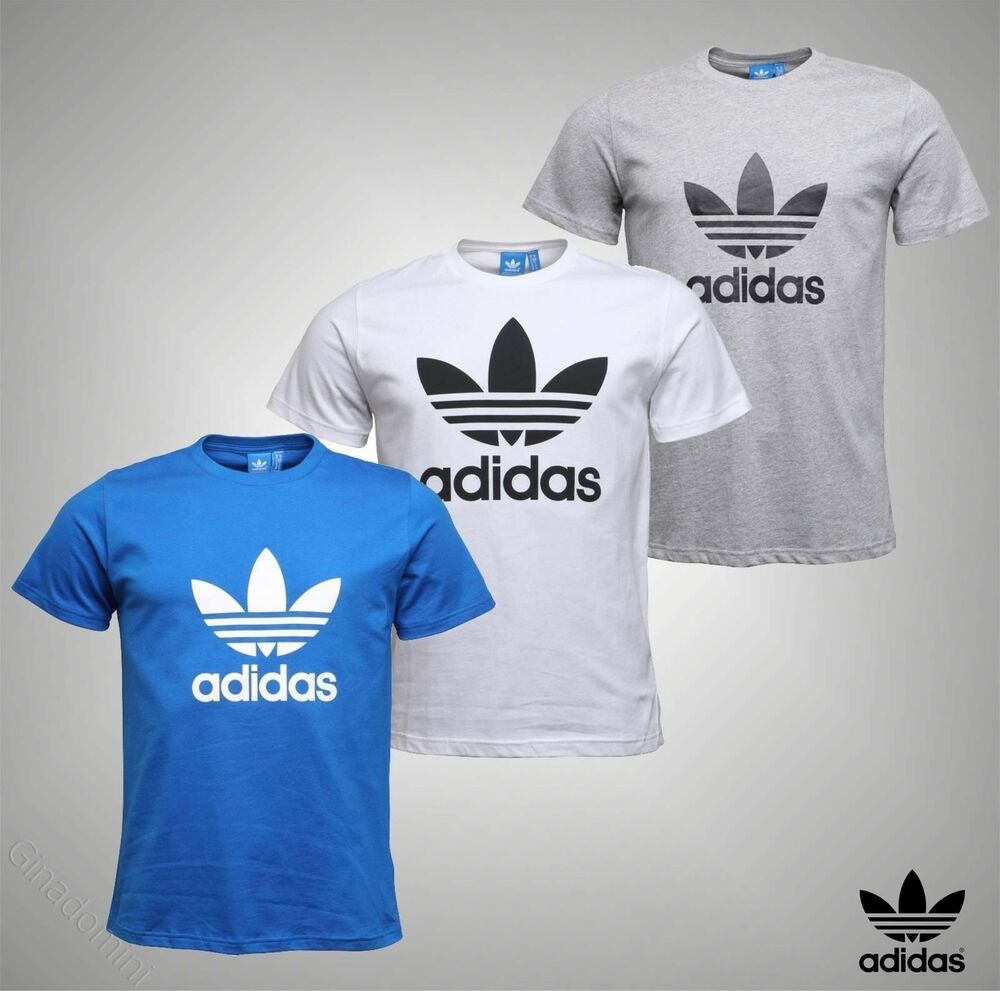 1a03a126 Details about Mens Genuine Adidas Originals Logo Printed Short Sleeve T  Shirt Top Size S-XL