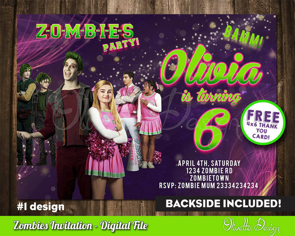 Details About Zombies Birthday Party Invitation Personalized U PRINT Printable ZOMBIES