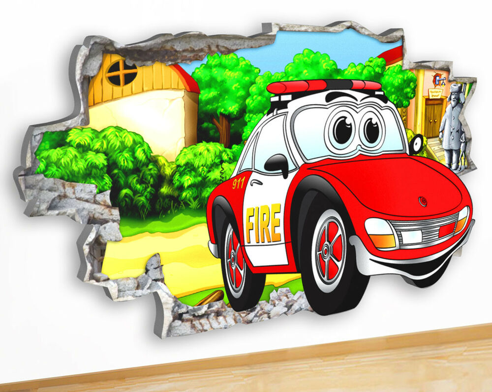 Details about m479 fire car cartoon nursery cool canvas picture poster wall art stickers room