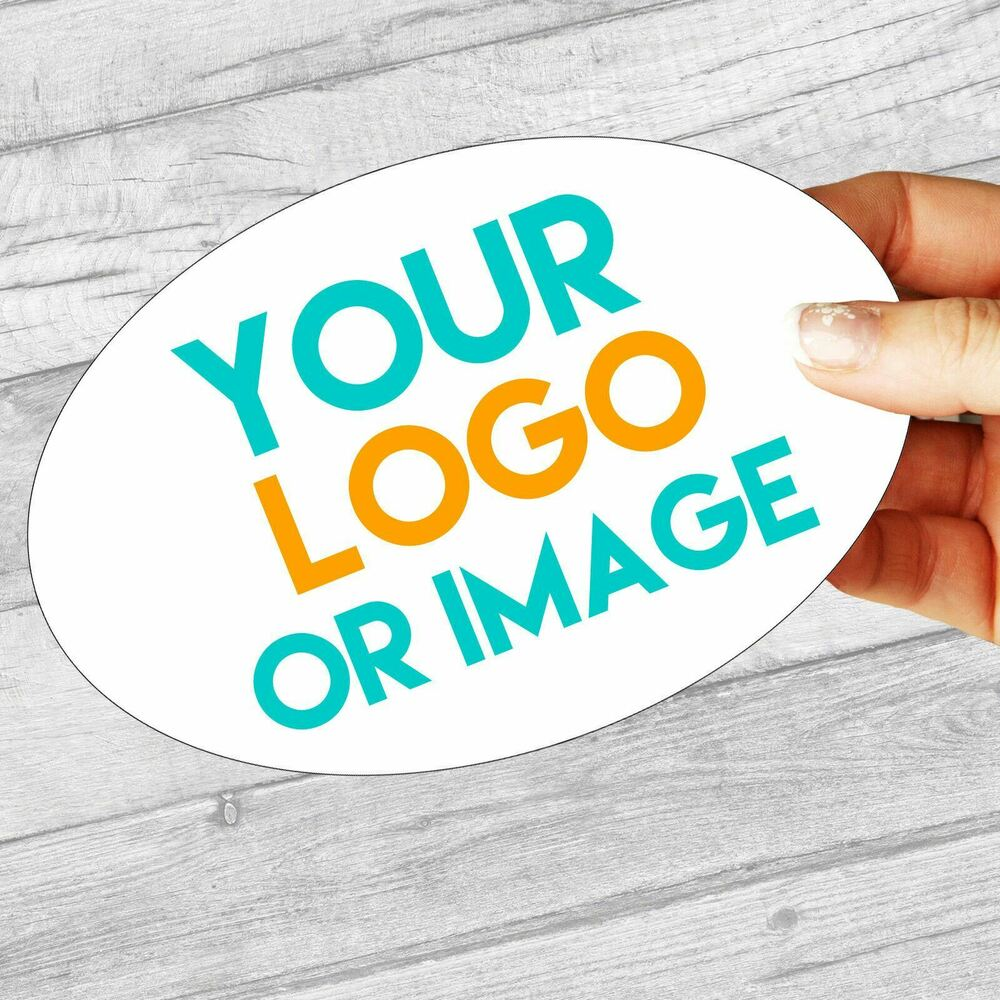 Details about custom logo large oval 134mm x 95mm personalised company name labels stickers