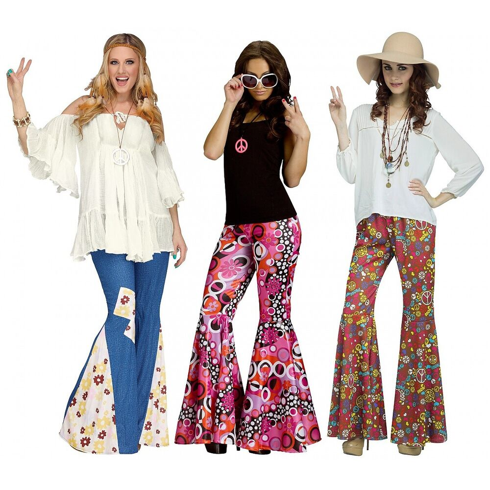 51dee0bae90 Details about Bell Bottoms Flared Pants Adult 60s 70s Hippie Costume  Halloween Fancy Dress