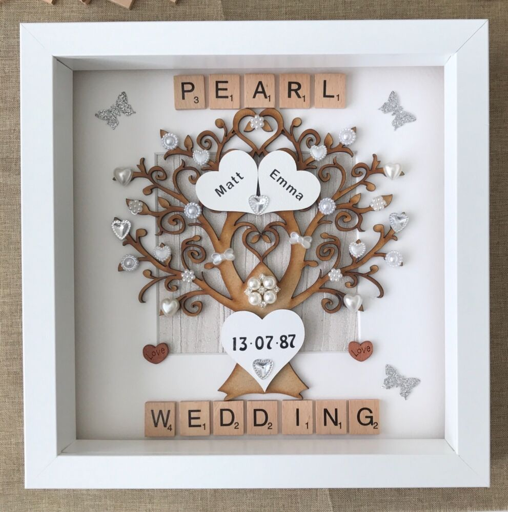 Gift Of Wedding Anniversary: Personalised Handmade Pearl 30th Wedding Anniversary Tree