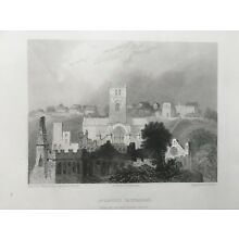 1842 Antique Print; St David's Cathedral, Pembrokeshire, west Wales after Warren