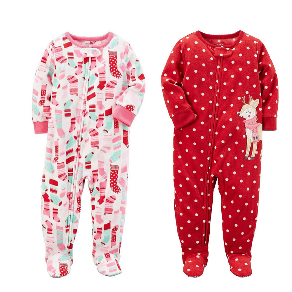 ed8fe764e17b Carter s Baby Girls One Piece Fleece Footed Pajama - Zippered ...