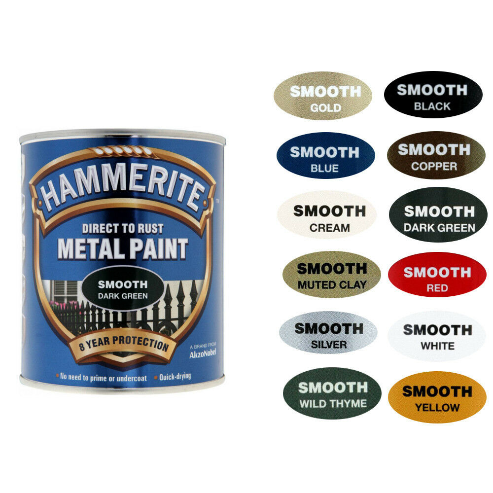 Hammerite Metal Paint Smooth with Wide Range Of Colours ...