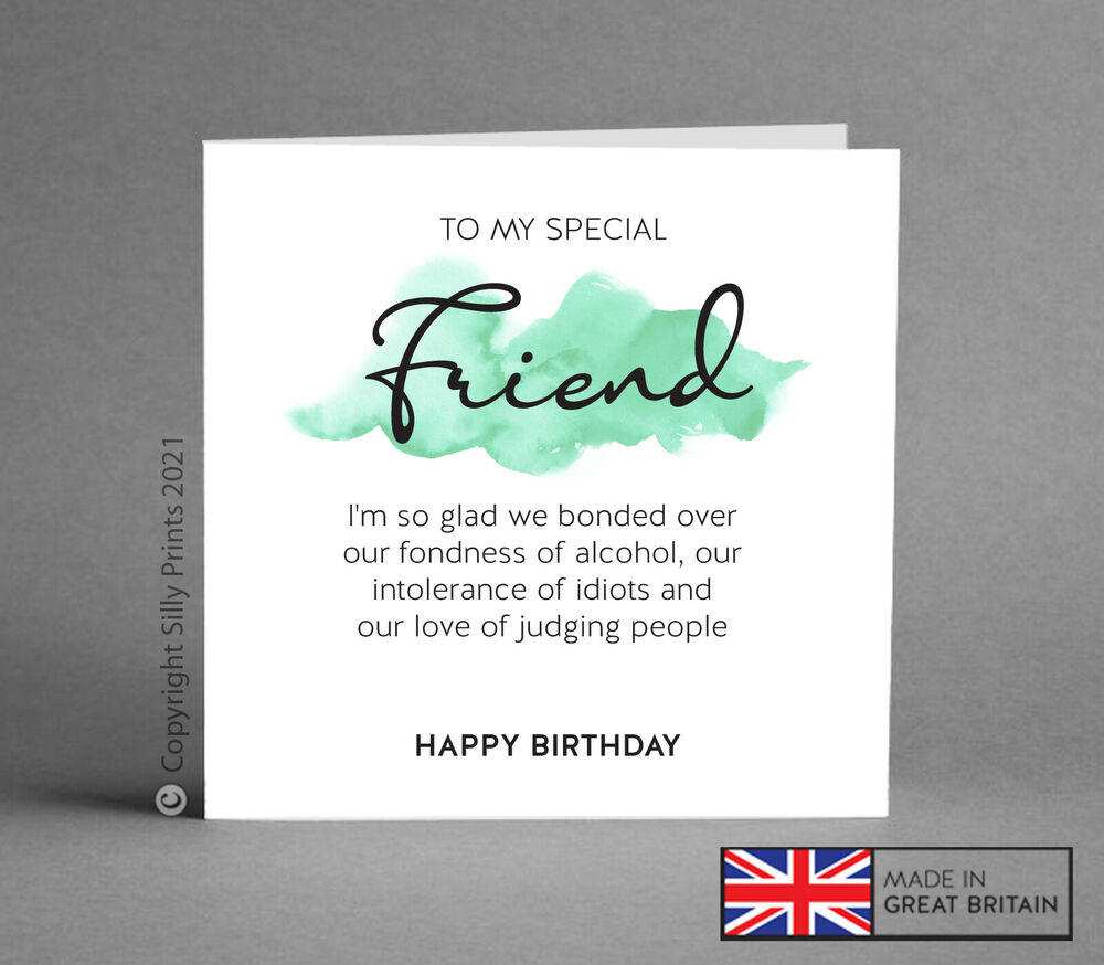 Funny Birthday Card Best Friend Gift Idea Wine Gin Rude Comedy Silly Humour B51