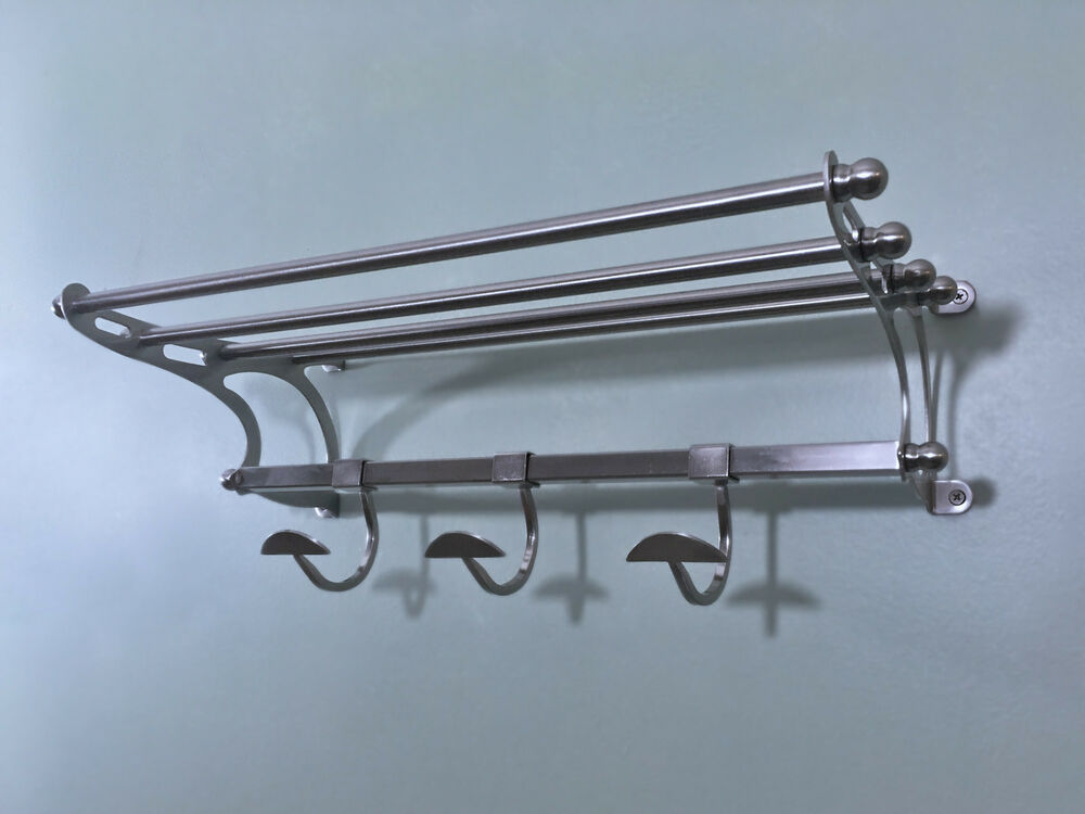 Paris Hotel Towel Rack Shelf With Hooks In Brushed Nickel