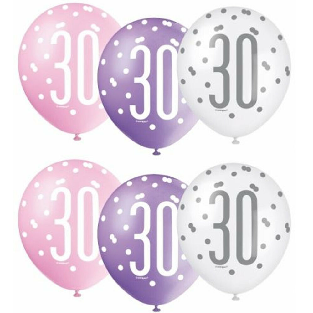 Details About Pack Of 6 Unique 12 Latex Glitz Pink 30th Birthday Balloons 2 Each Colour