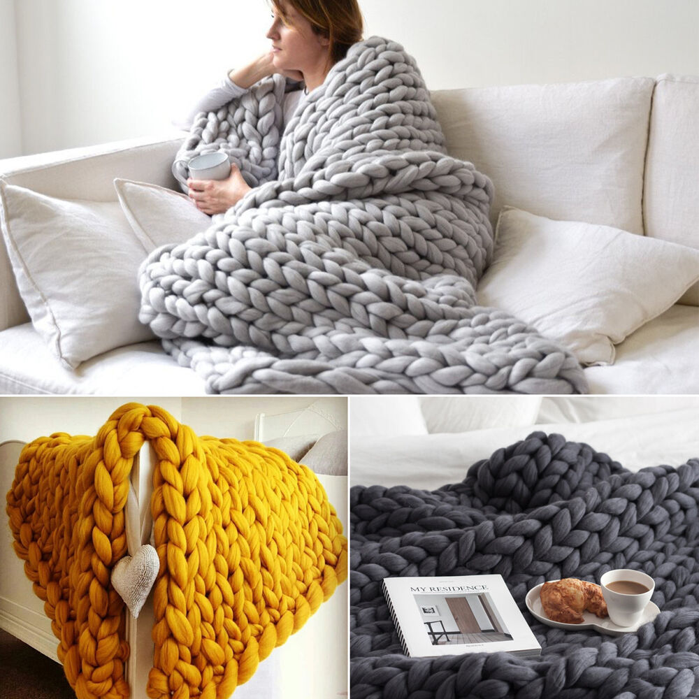 Wool Chunky Knitted Thick Blanket Hand Bulky Knit Throw
