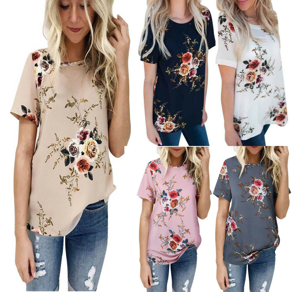 b8677c00e37f7 Details about Summer Womens Casual Tops Blouse Short Sleeve Crew Neck  Floral T-Shirt Ladies US