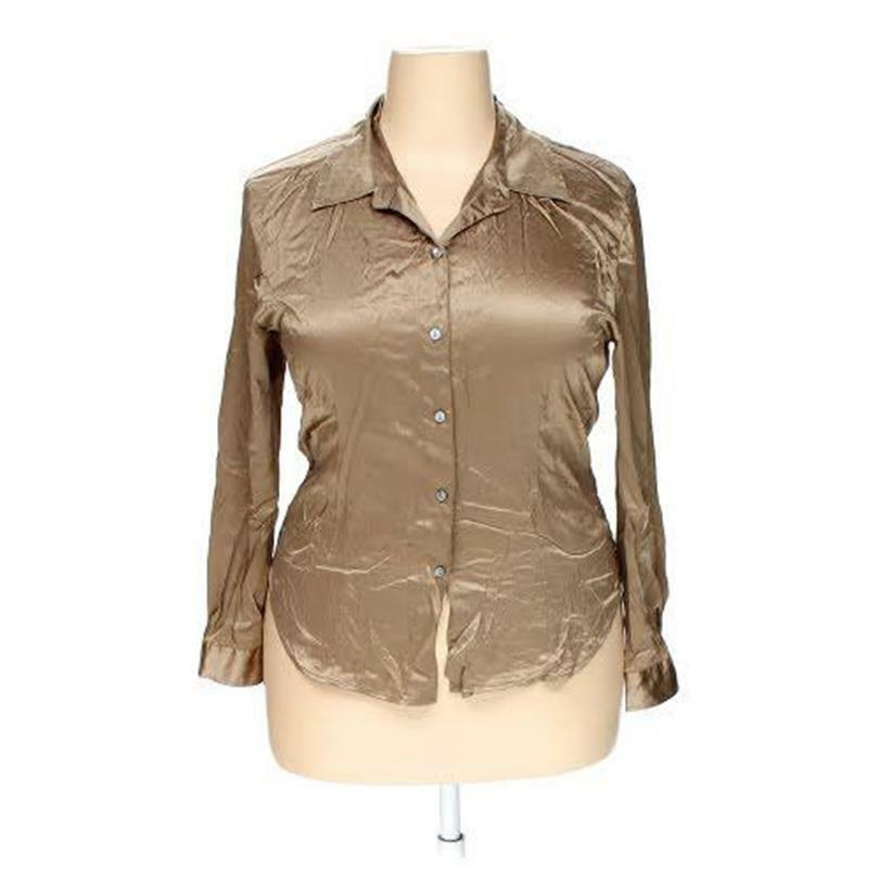 8705ddf0398972 Details about CHICOS 2 L M XL 46-48 BUST BROWN GOLD SATIN BLOUSE SILK  SPANDEX LONG SLEEVES BIN