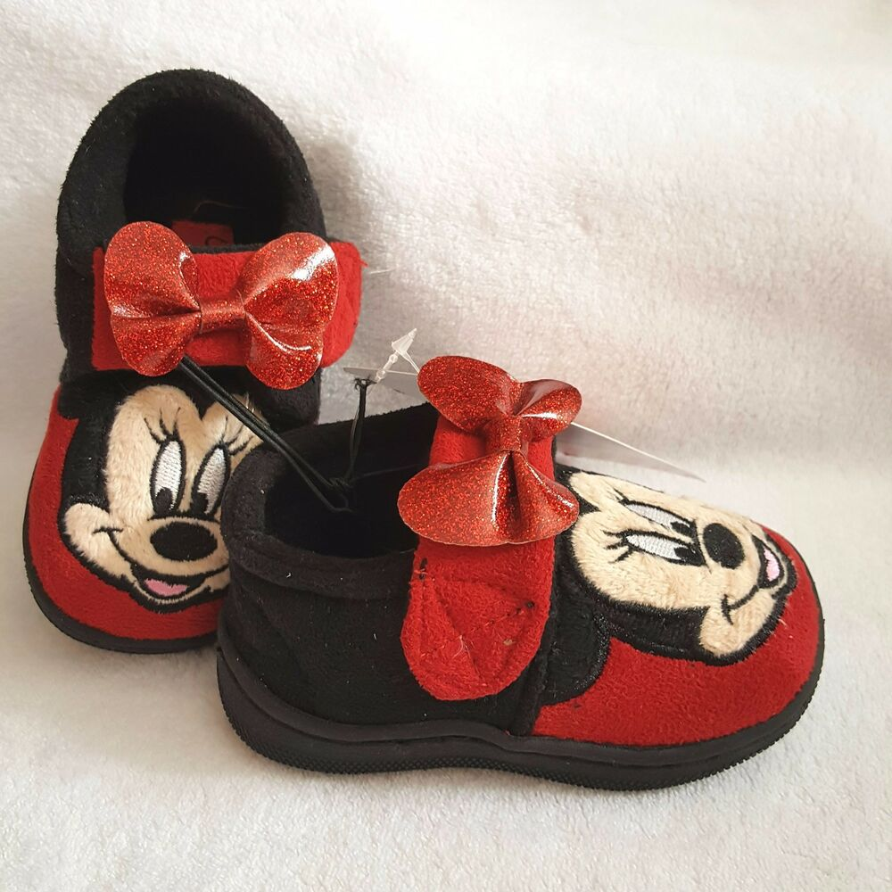 b98878c2a8b72 DISNEY chaussons pantoufles MINNIE rouge noir pointure 21