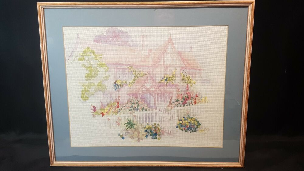 Pastel Picture of Country Cottage Completed Cross Stitch Framed 23.5 ...