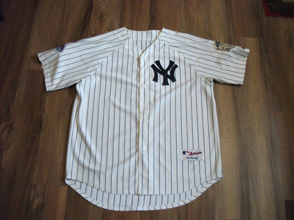 official photos f69a0 80904 AUTHENTIC DEREK JETER NY NEW YORK YANKEES BASEBALL JERSEY SIZE 54 W/ 2  PATCHES | eBay