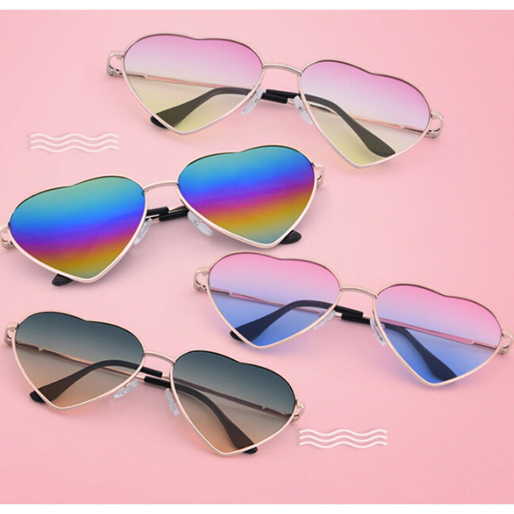 6b30cd1922 Details about Retro Metal Heart Shaped Sunglasses Peach Funny Men and Women  Glasses