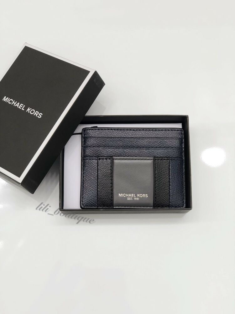 4e2b219f743e Details about NWT Michael Kors Mens Warren Leather Tall Card Case Wallet  Navy Black Grey  48