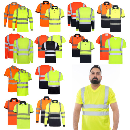 img-HI VIS MEN'S T-SHIRTS HIGH VISIBILITY REFLECTIVE TAPE SAFETY SECURITY WORK S-5XL