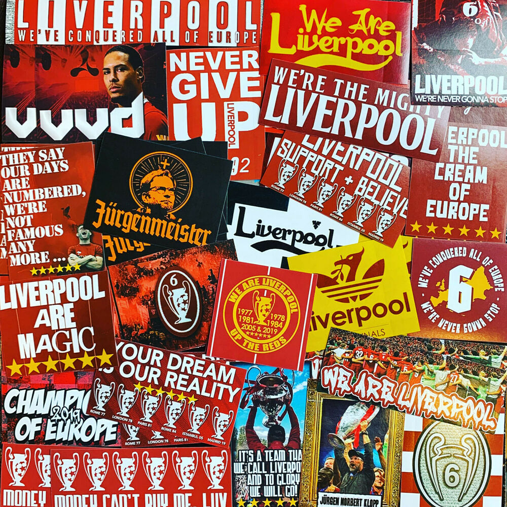 Details about 100 x liverpool stickers inspired by shirt scarf badge flag cap hat anfield lfc
