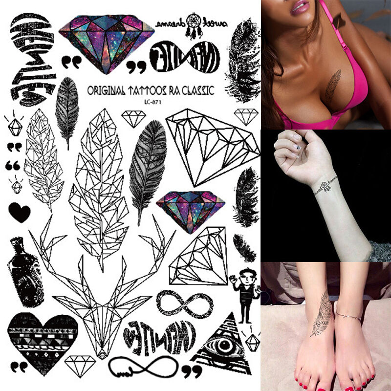 einmal tattoo temporary tattoo diamant feder tattoo wasserfest body