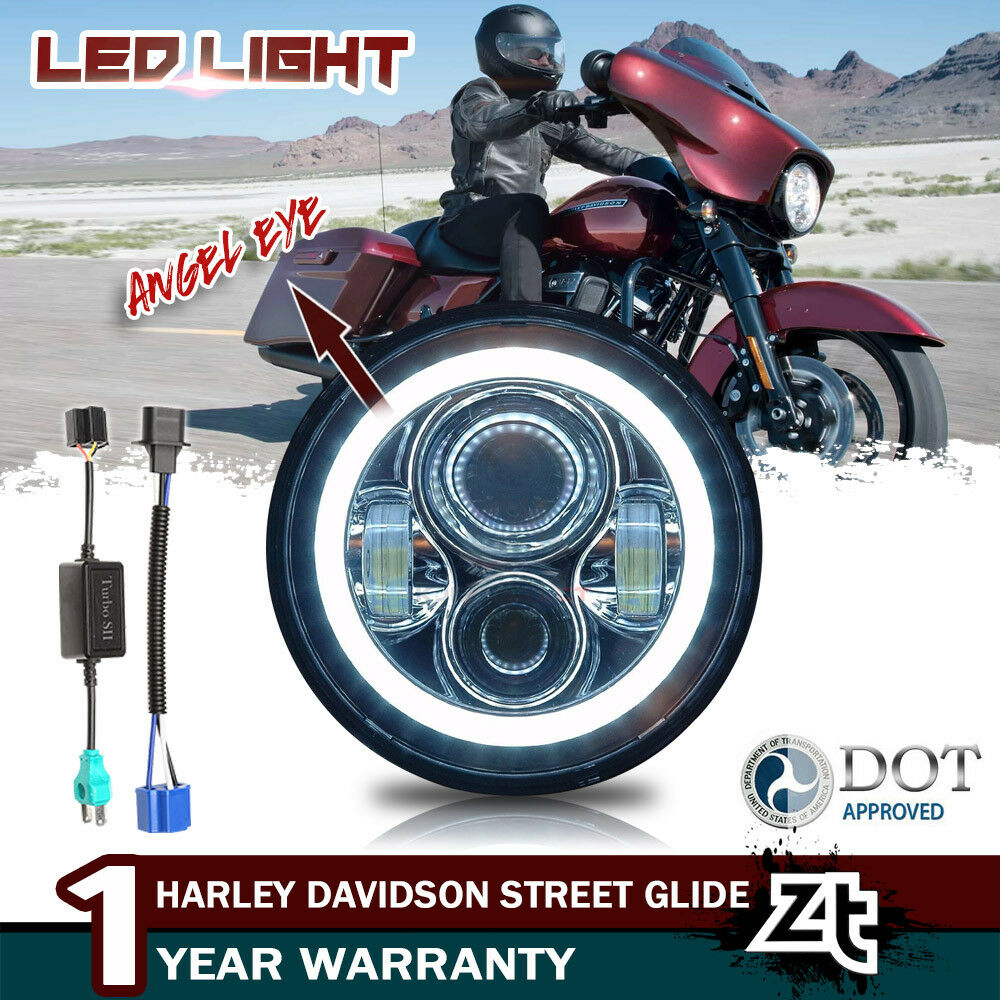 Ebay Motors Harley Davidson Street Glide User Manual Wiring Library Honeywell L6006c 1018 Diagram For 7 Led White Headlight With Halo Daymaker Flhx
