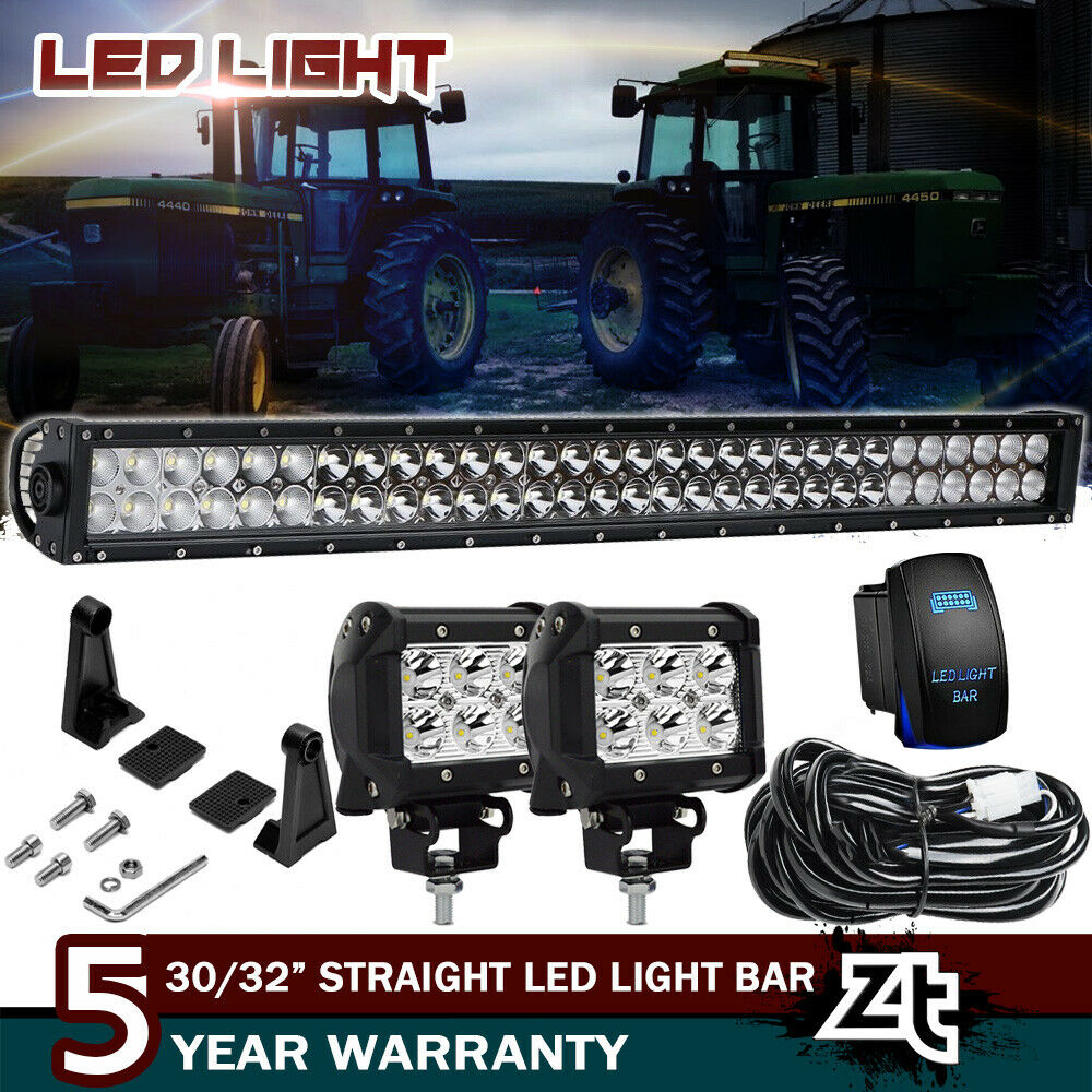 "30/32"" LED Light Bar+4"" Pods Cube Kit For John Deere AR60250 2955 4430 4440  4455"