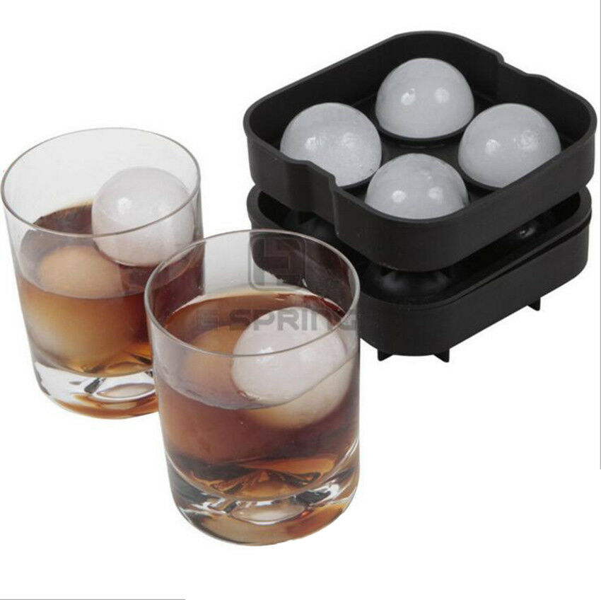 Ice Ball Mold >> Four Large Sphere Round Ice Balls Maker Tray Molds Cube Whiskey