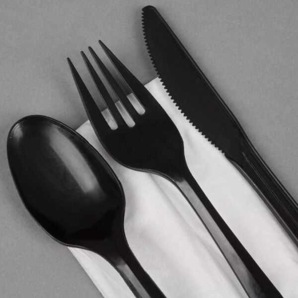 HEAVYDUTY Disposable BLACK Plastic Cutlery Set Knives Forks Spoons OFFER on SALE