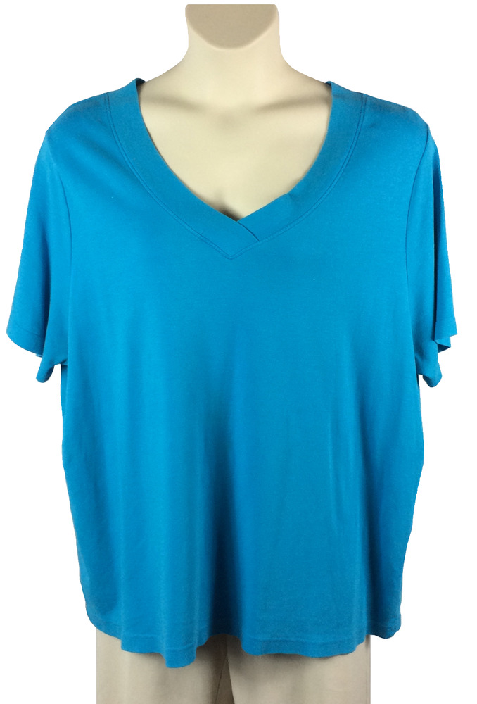 2aba6b2df146b Details about Womens White Stag Turquoise Knit Top Plus Size 3X V-Neck  Short Sleeve Cotton