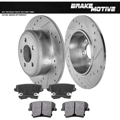 For Charger Challenger Magnum 300 Rear Drill Slot Brake Rotors & Metallic Pads