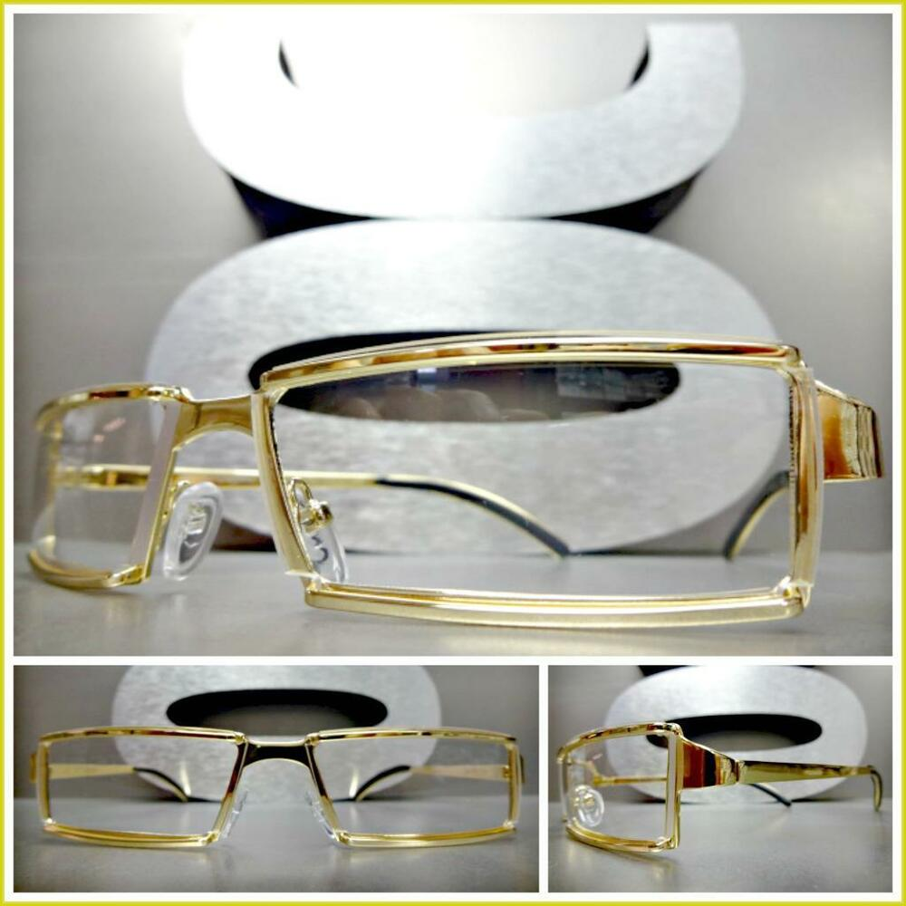 f41347e18091 Details about Men s Contemporary Modern Classy Elegant Style Clear Lens EYE  GLASSES Gold Frame