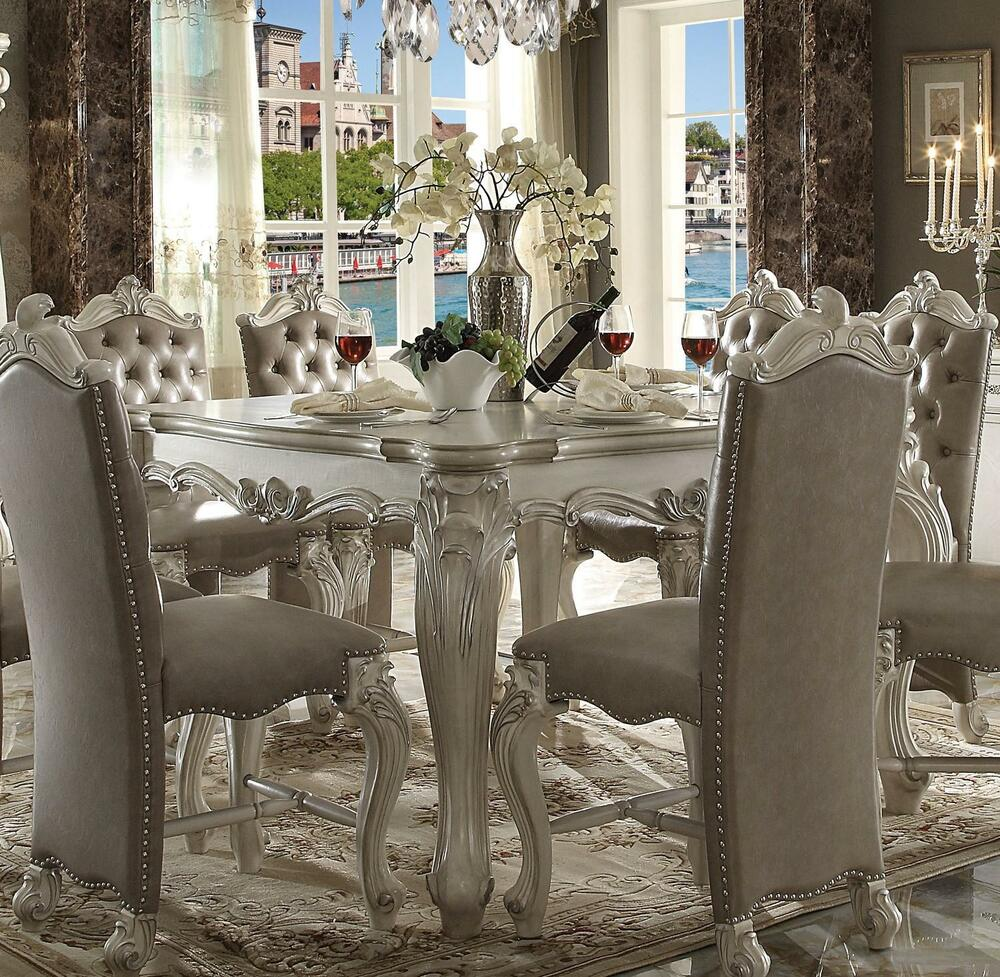 Details about acme furniture white versailles dining room set classic 5pcs traditional