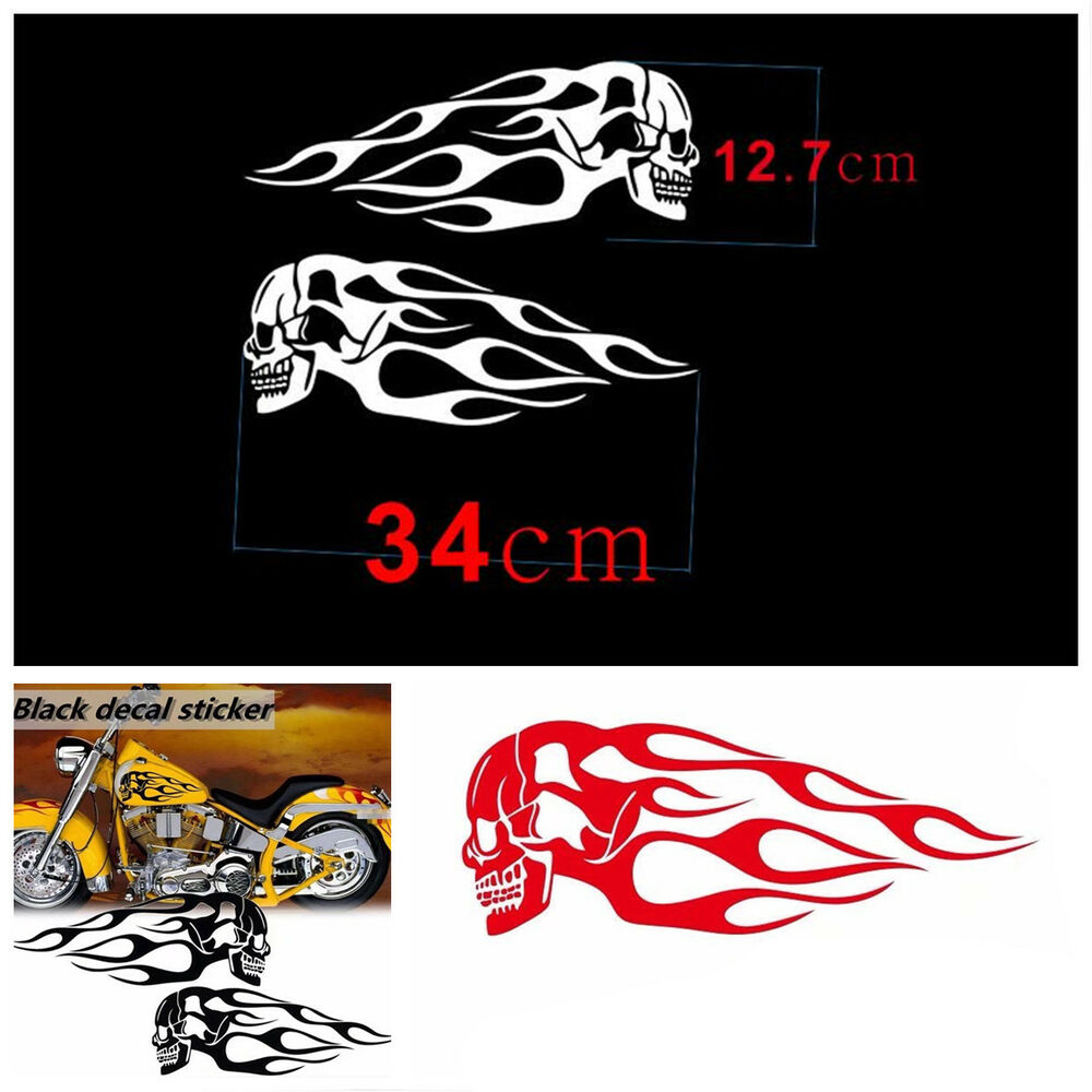 Details about customized motorcycle skull flame stripes gas tank vinyl sticker decal 34x12 7cm