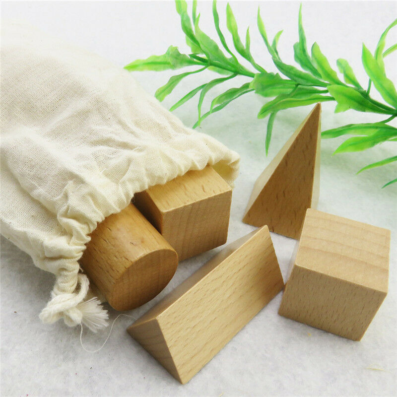 Wood Shapes Toy Geometry Montessori Mystery Bag Cognitive Learning Education Kid