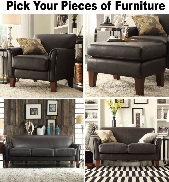 Leather Couch With Fabric Accent Chair: Dark Brown Leather Furniture Set Sofa Loveseat Accent