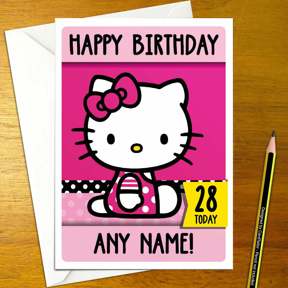 Details About HELLO KITTY Personalised Birthday Card