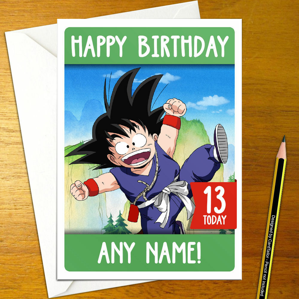 Details About GOKU Personalised Birthday Card