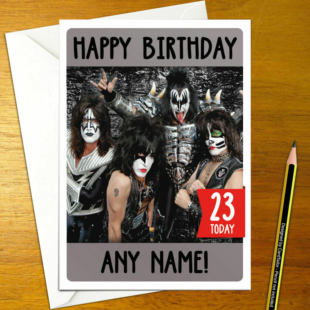 Kiss Personalised Birthday Card A5 Music American Rock Band Heavy