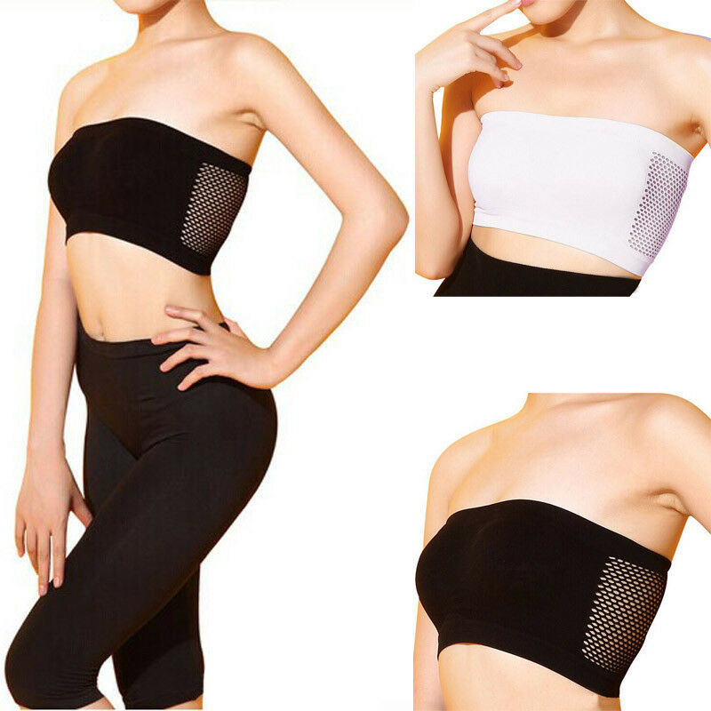 660505ae03d Details about Women Ladies Sexy Strapless Top Vest Breathable Sports Bras  Bandeau Boob Tube