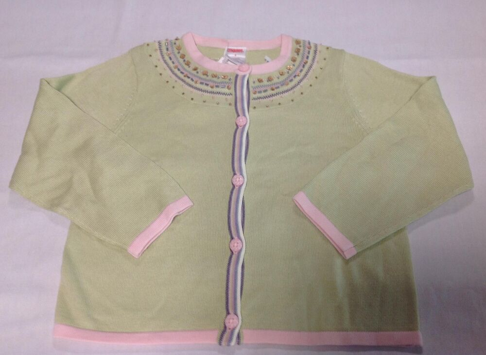 28cc1c2ad99 Details about NWT Gymboree WINTER PRINCESS green pink sequin cardigan  pullover sweater 4