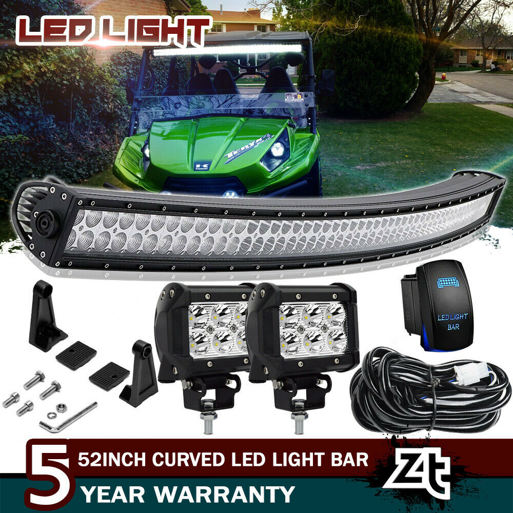 50 Curved Led Light Bar Combo 4 Pods Cube Kawasaki Teryx Teryx4 4010 Electrical Wiring Harness Mule 610